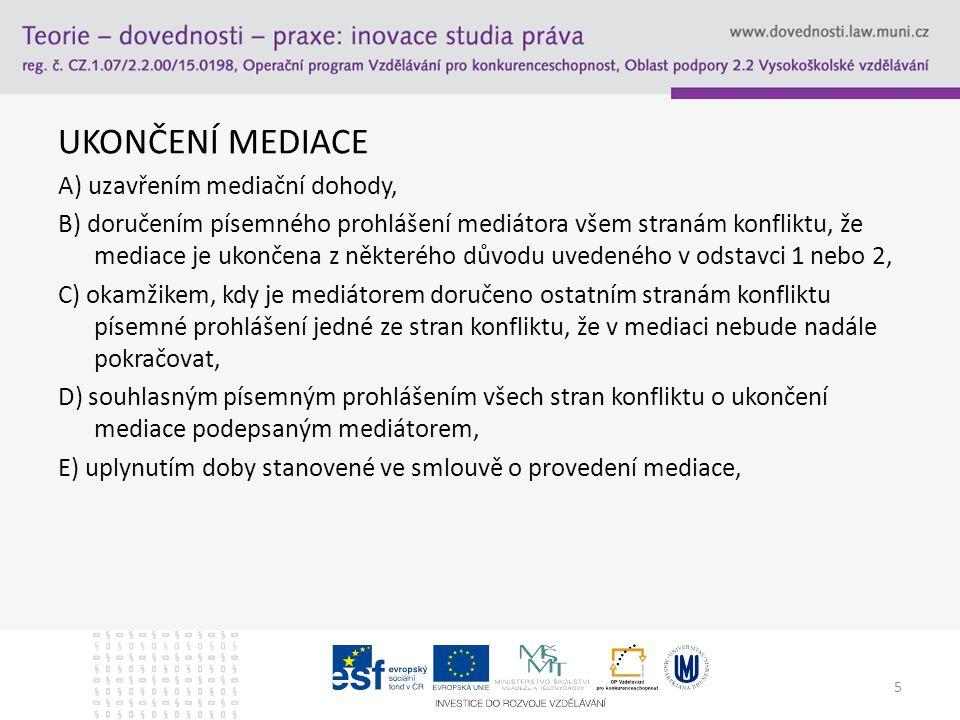 UKONČENÍ MEDIACE A) uzavřením mediační dohody, B) doručením písemného prohlášení mediátora všem stranám konfliktu, že mediace je ukončena z některého