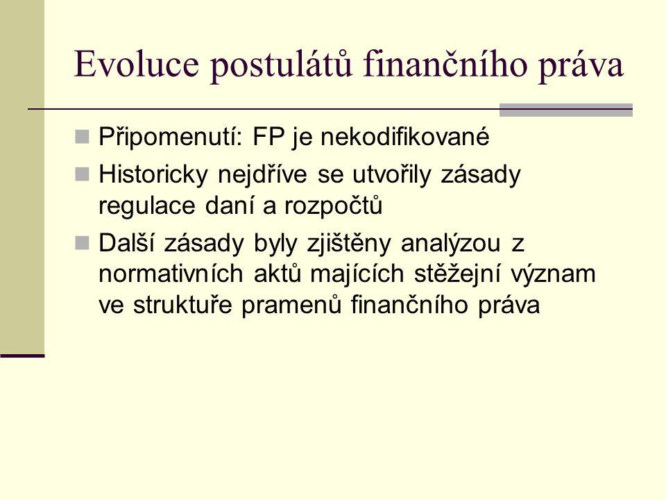 Evoluce postulátů finančního práva Připomenutí: FP je nekodifikované Historicky nejdříve se utvořily zásady regulace daní a rozpočtů Další zásady byly