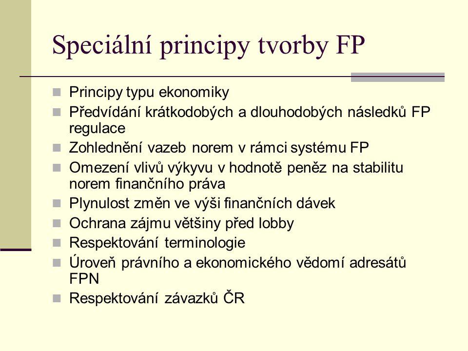 Speciální principy tvorby FP Principy typu ekonomiky Předvídání krátkodobých a dlouhodobých následků FP regulace Zohlednění vazeb norem v rámci systém