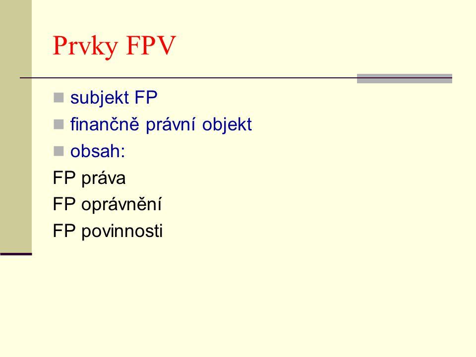 Prvky FPV subjekt FP finančně právní objekt obsah: FP práva FP oprávnění FP povinnosti