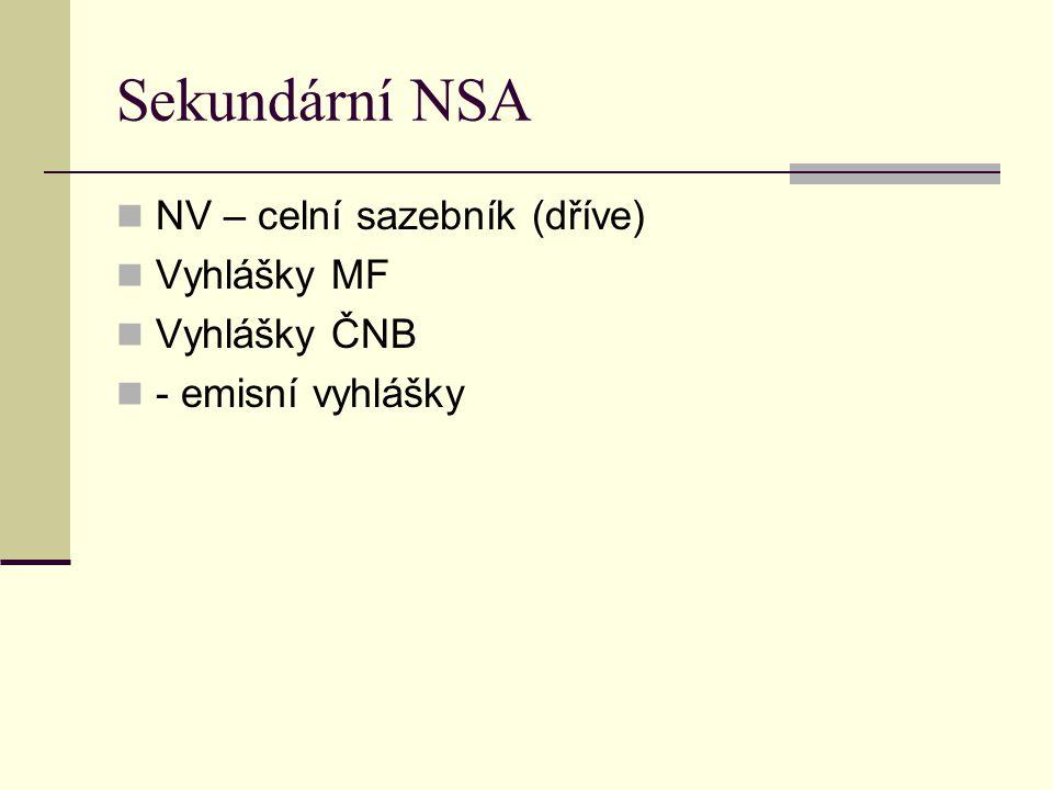 Sekundární NSA NV – celní sazebník (dříve) Vyhlášky MF Vyhlášky ČNB - emisní vyhlášky