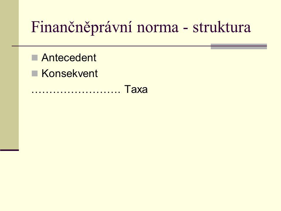 Finančněprávní norma - struktura Antecedent Konsekvent ……………………. Taxa