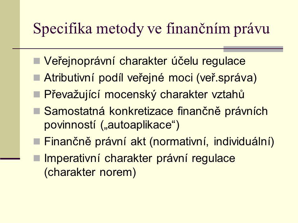 Rysy metody Převažující veřejnoprávní charakter Základ v administrativněprávní metodě Modifikace užitím soukromoprávních prvků, nástrojů ekonomického působení (%) Specifika v rámci subsystémů finančního práva