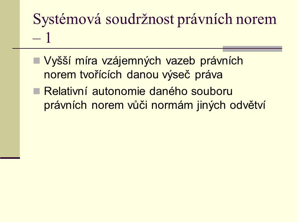 Systémová soudržnost právních norem – 1 Vyšší míra vzájemných vazeb právních norem tvořících danou výseč práva Relativní autonomie daného souboru práv