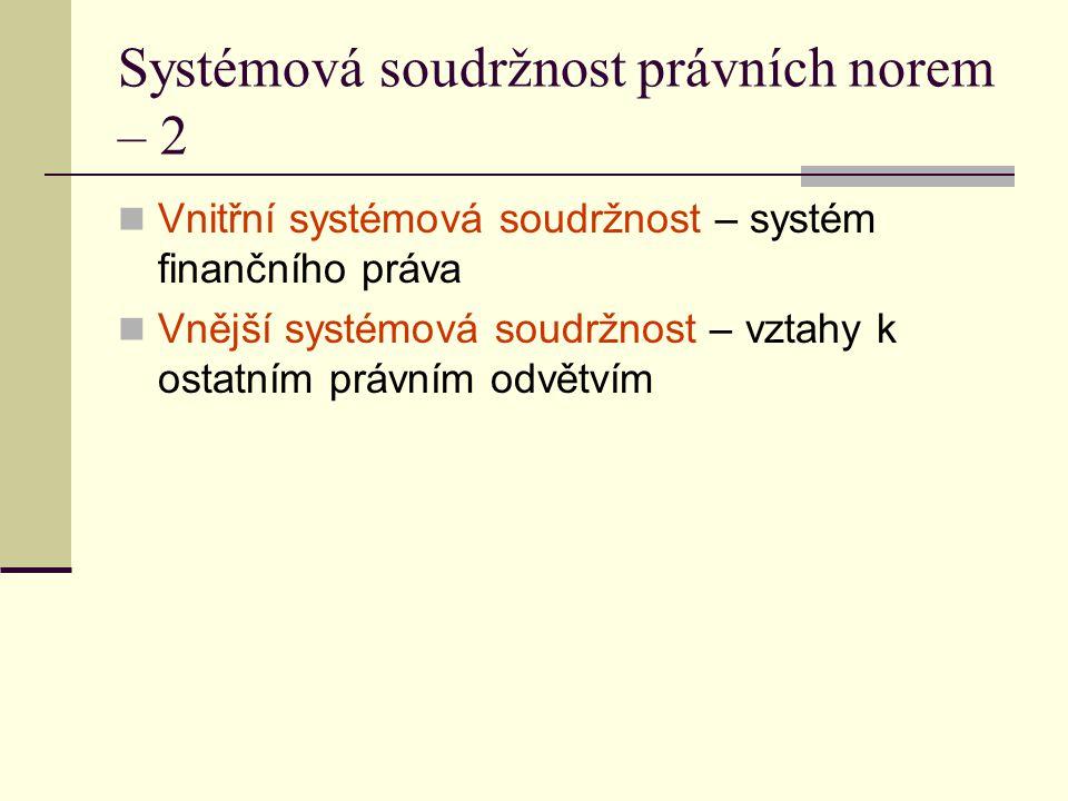 Systémová soudržnost právních norem – 2 Vnitřní systémová soudržnost – systém finančního práva Vnější systémová soudržnost – vztahy k ostatním právním