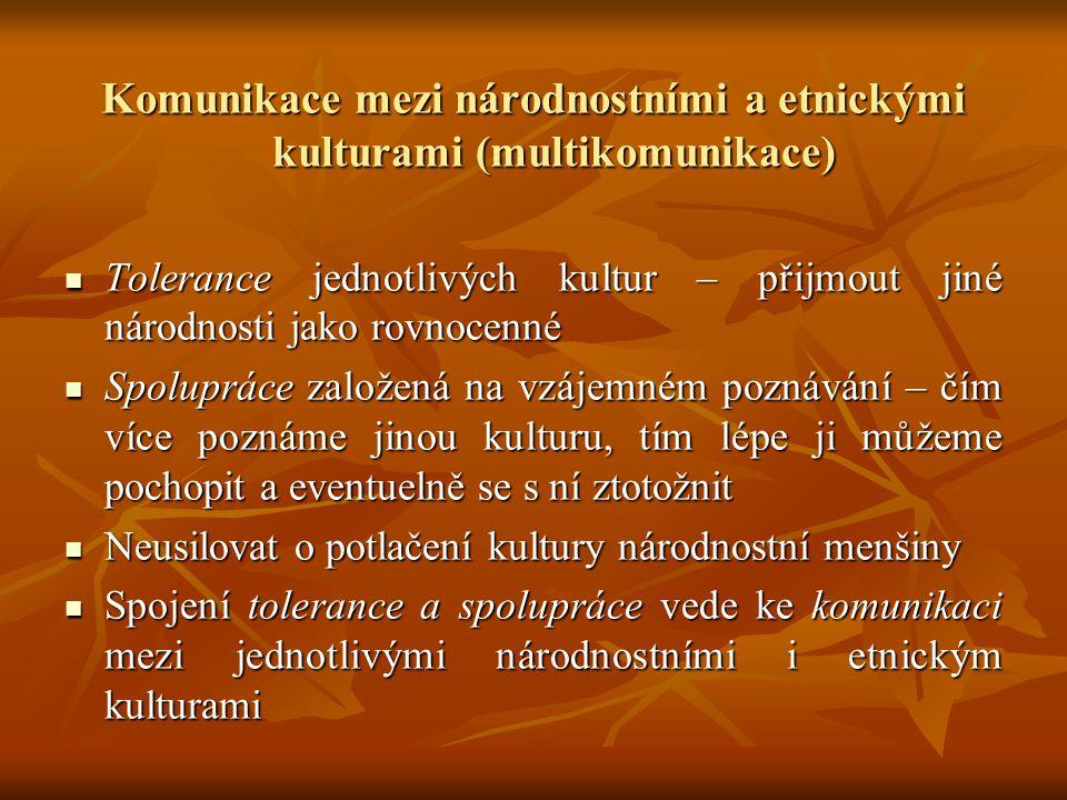 Komunikace mezi národnostními a etnickými kulturami (multikomunikace) Tolerance jednotlivých kultur – přijmout jiné národnosti jako rovnocenné Toleran