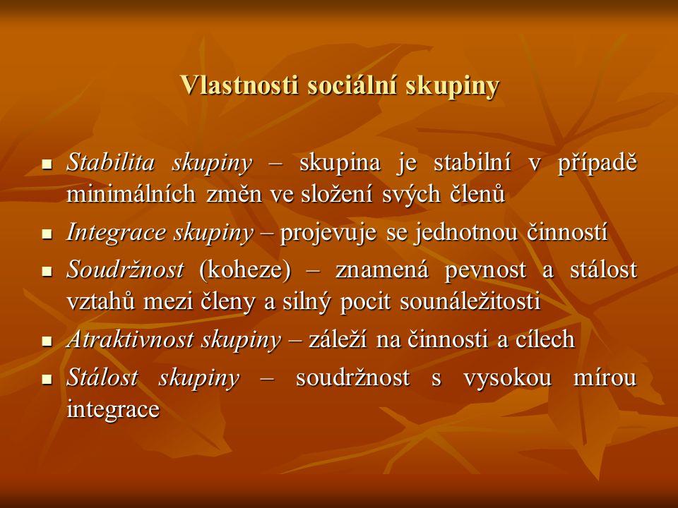 Vlastnosti sociální skupiny Stabilita skupiny – skupina je stabilní v případě minimálních změn ve složení svých členů Stabilita skupiny – skupina je s