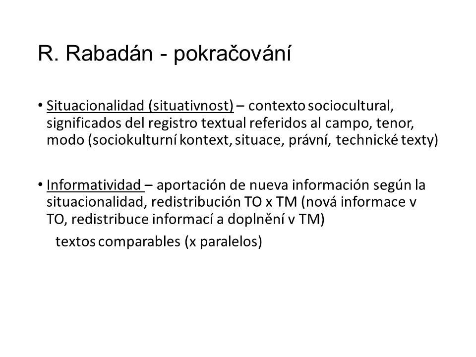 R. Rabadán - pokračování Situacionalidad (situativnost) – contexto sociocultural, significados del registro textual referidos al campo, tenor, modo (s