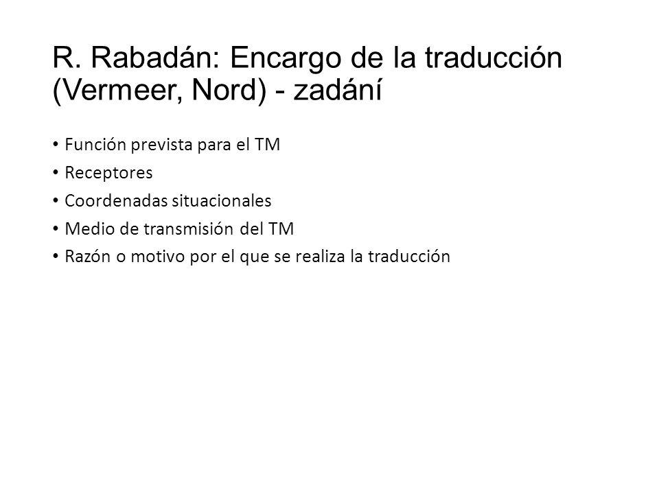 R. Rabadán: Encargo de la traducción (Vermeer, Nord) - zadání Función prevista para el TM Receptores Coordenadas situacionales Medio de transmisión de