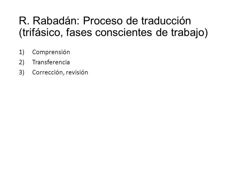 R. Rabadán: Proceso de traducción (trifásico, fases conscientes de trabajo) 1)Comprensión 2)Transferencia 3)Corrección, revisión