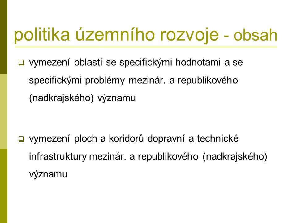 politika územního rozvoje - obsah  vymezení oblastí se specifickými hodnotami a se specifickými problémy mezinár. a republikového (nadkrajského) význ