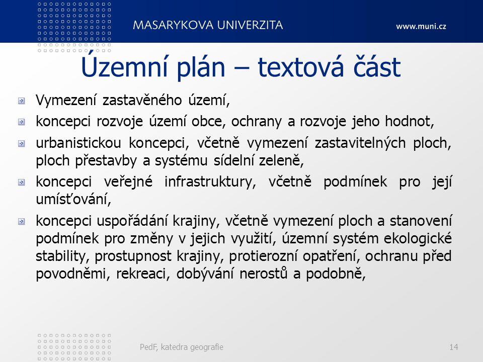 Územní plán – textová část Vymezení zastavěného území, koncepci rozvoje území obce, ochrany a rozvoje jeho hodnot, urbanistickou koncepci, včetně vyme