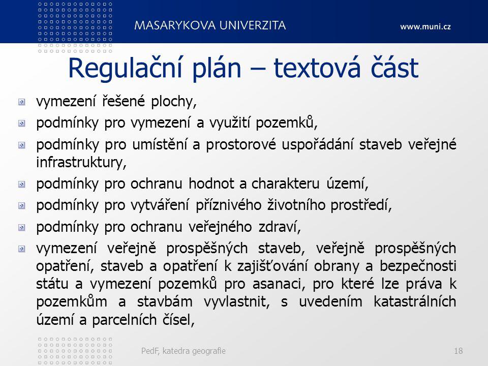 Regulační plán – textová část vymezení řešené plochy, podmínky pro vymezení a využití pozemků, podmínky pro umístění a prostorové uspořádání staveb ve