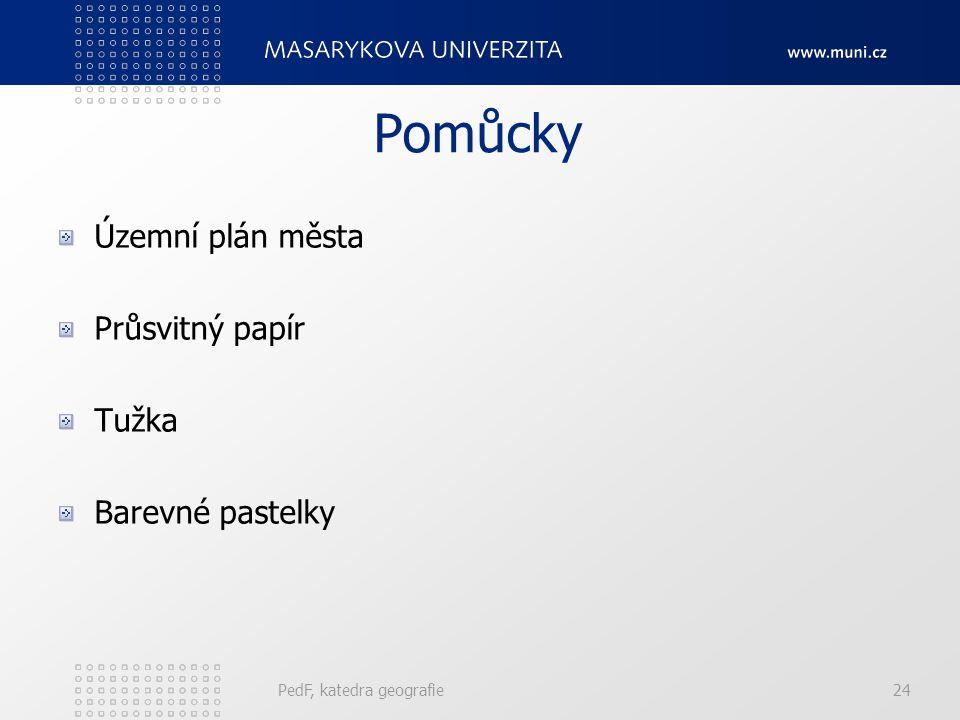 Pomůcky Územní plán města Průsvitný papír Tužka Barevné pastelky PedF, katedra geografie24
