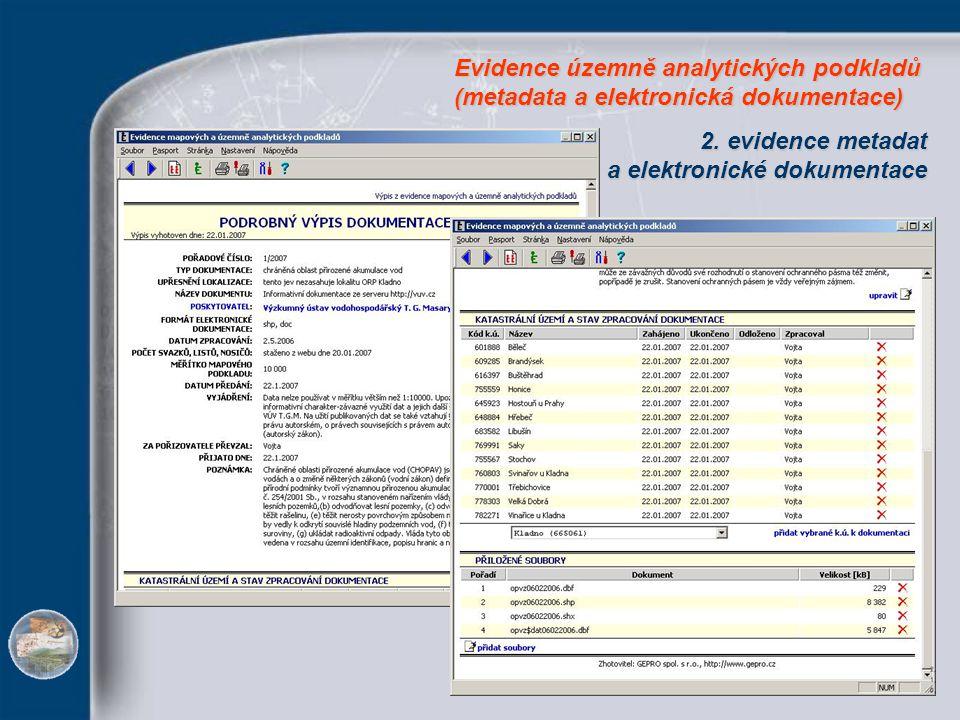 2. evidence metadat a elektronické dokumentace a elektronické dokumentace Evidence územně analytických podkladů (metadata a elektronická dokumentace)