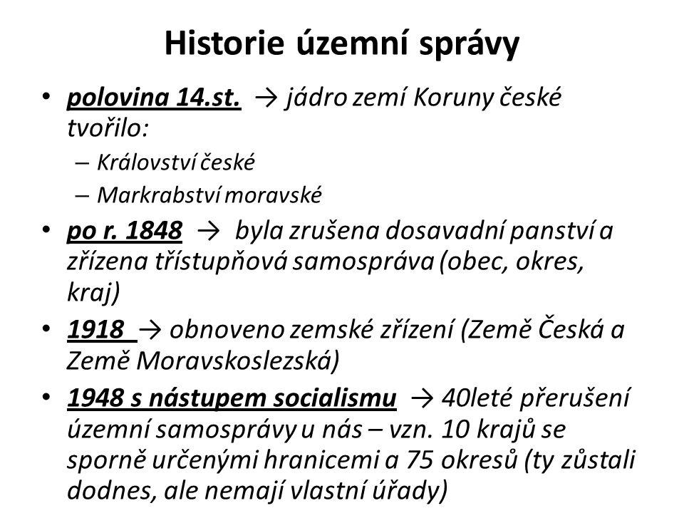 Historie územní správy polovina 14.st. → jádro zemí Koruny české tvořilo: – Království české – Markrabství moravské po r. 1848 → byla zrušena dosavadn