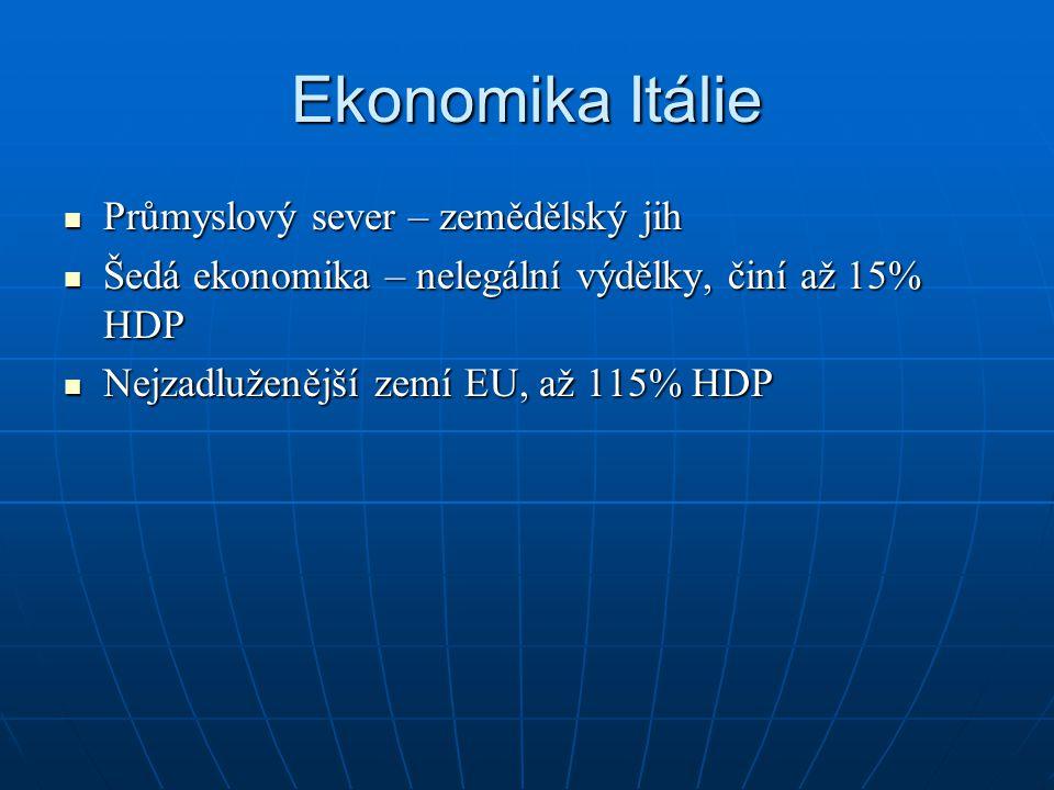 Ekonomika Itálie Průmyslový sever – zemědělský jih Průmyslový sever – zemědělský jih Šedá ekonomika – nelegální výdělky, činí až 15% HDP Šedá ekonomika – nelegální výdělky, činí až 15% HDP Nejzadluženější zemí EU, až 115% HDP Nejzadluženější zemí EU, až 115% HDP
