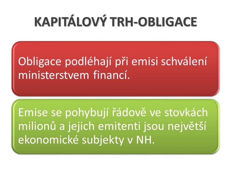 KAPITÁLOVÝ TRH-OBLIGACE Obligace podléhají při emisi schválení ministerstvem financí.