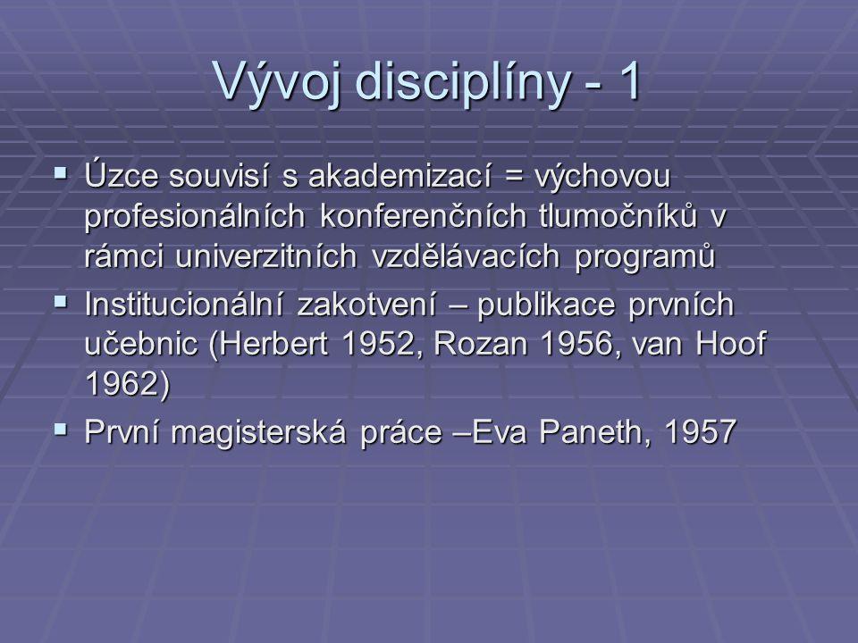 Vývoj disciplíny - 1  Úzce souvisí s akademizací = výchovou profesionálních konferenčních tlumočníků v rámci univerzitních vzdělávacích programů  In