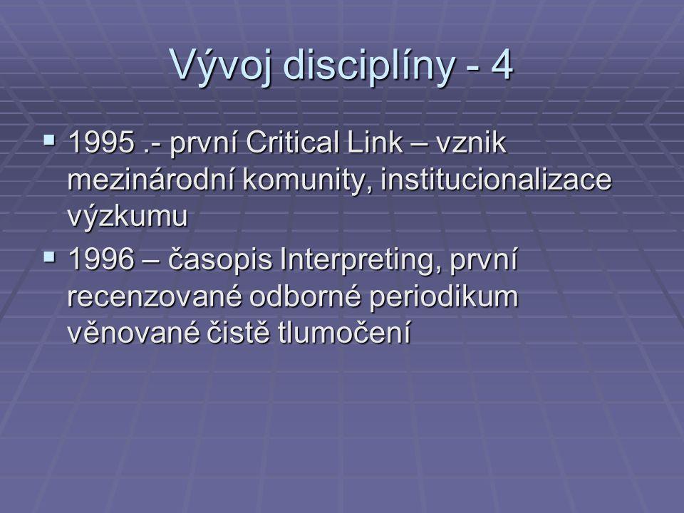 Vývoj disciplíny - 4  1995.- první Critical Link – vznik mezinárodní komunity, institucionalizace výzkumu  1996 – časopis Interpreting, první recenz