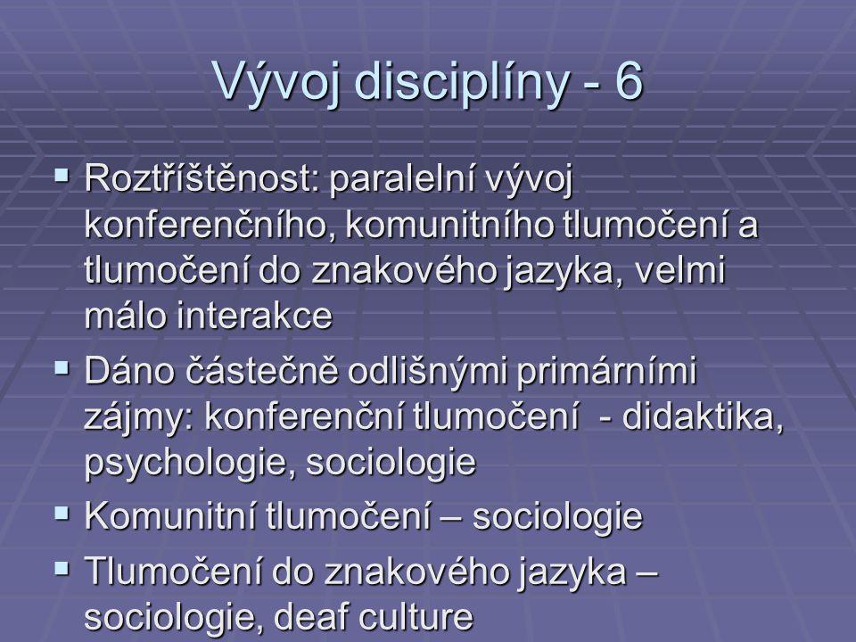 Vývoj disciplíny - 6  Roztříštěnost: paralelní vývoj konferenčního, komunitního tlumočení a tlumočení do znakového jazyka, velmi málo interakce  Dán
