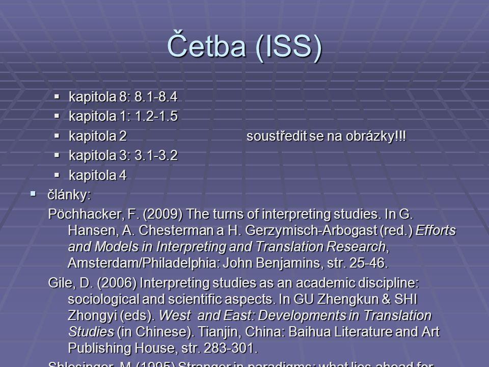 Četba (ISS)  kapitola 8: 8.1-8.4  kapitola 1: 1.2-1.5  kapitola 2 soustředit se na obrázky!!!  kapitola 3: 3.1-3.2  kapitola 4  články: Pöchhack