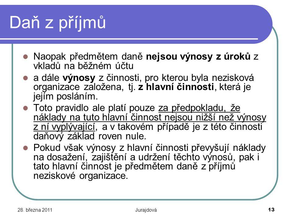 28. března 2011Jurajdová13 Daň z příjmů Naopak předmětem daně nejsou výnosy z úroků z vkladů na běžném účtu a dále výnosy z činnosti, pro kterou byla