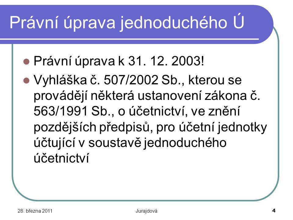 28. března 2011Jurajdová4 Právní úprava jednoduchého Ú Právní úprava k 31. 12. 2003! Vyhláška č. 507/2002 Sb., kterou se provádějí některá ustanovení
