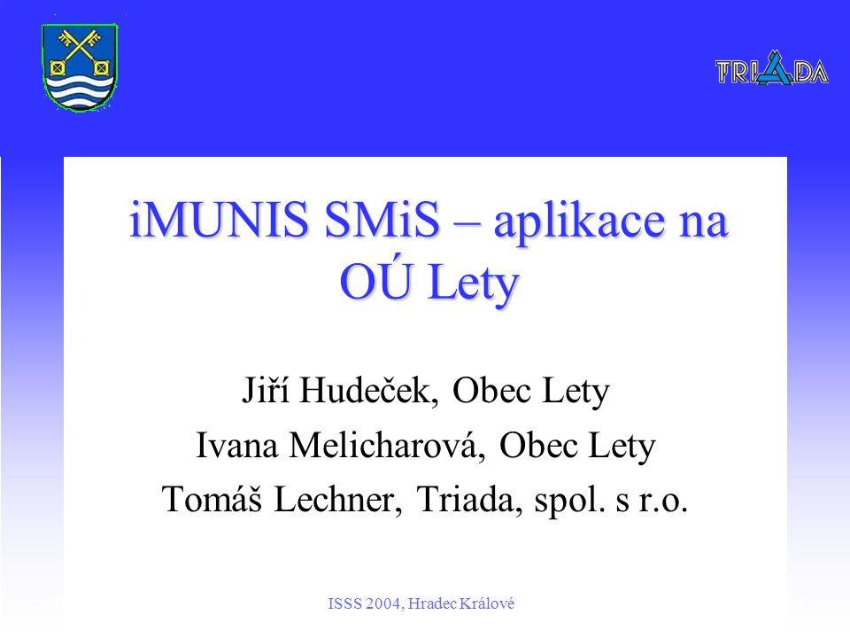 29. března 2004ISSS 2004, Hradec Králové1 iMUNIS SMiS – aplikace na OÚ Lety Jiří Hudeček, Obec Lety Ivana Melicharová, Obec Lety Tomáš Lechner, Triada