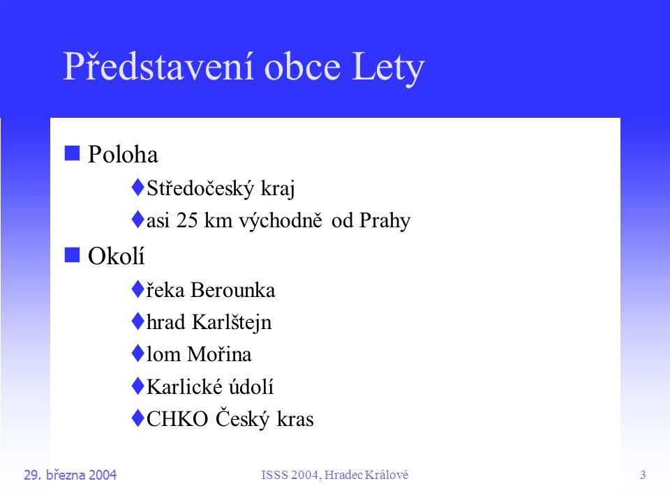 ISSS 2004, Hradec Králové29. března 20043 Představení obce Lety Poloha  Středočeský kraj  asi 25 km východně od Prahy Okolí  řeka Berounka  hrad K