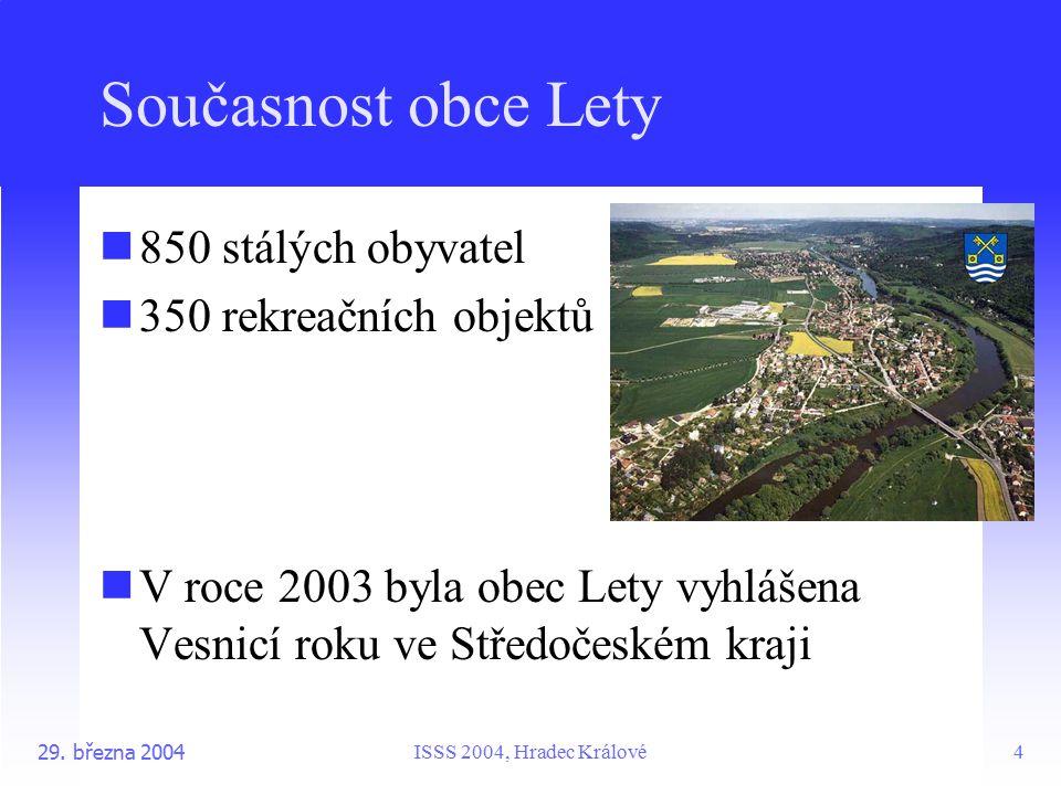 ISSS 2004, Hradec Králové29. března 20044 Současnost obce Lety 850 stálých obyvatel 350 rekreačních objektů V roce 2003 byla obec Lety vyhlášena Vesni