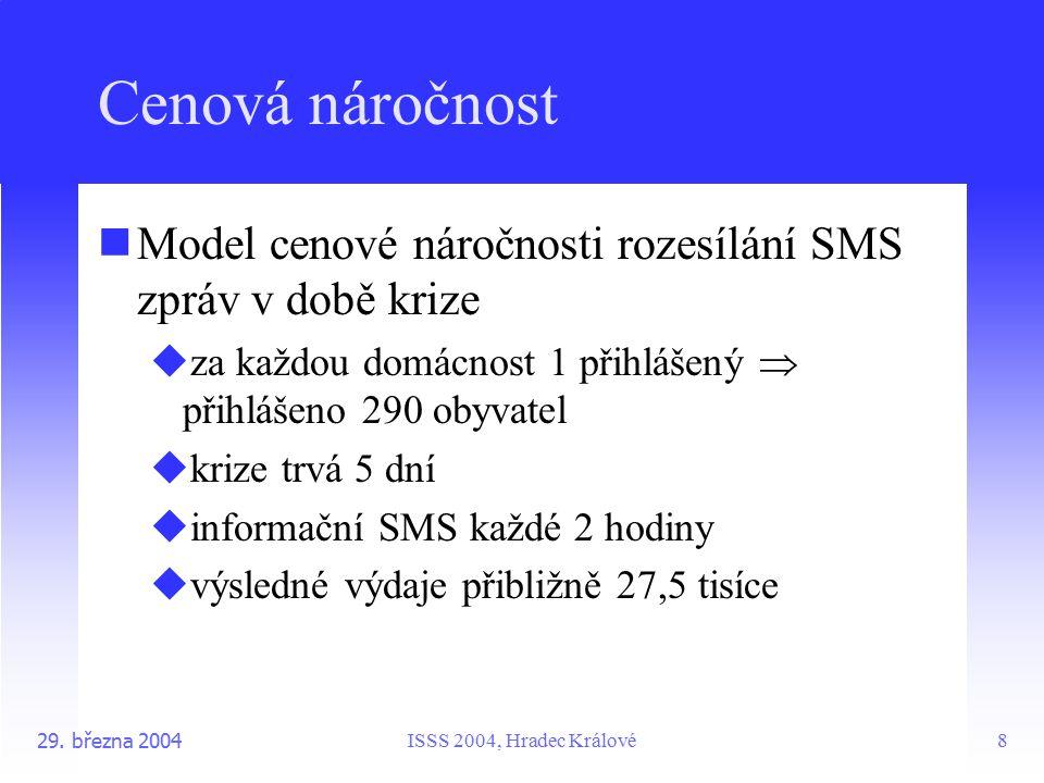 ISSS 2004, Hradec Králové29. března 20048 Cenová náročnost Model cenové náročnosti rozesílání SMS zpráv v době krize  za každou domácnost 1 přihlášen