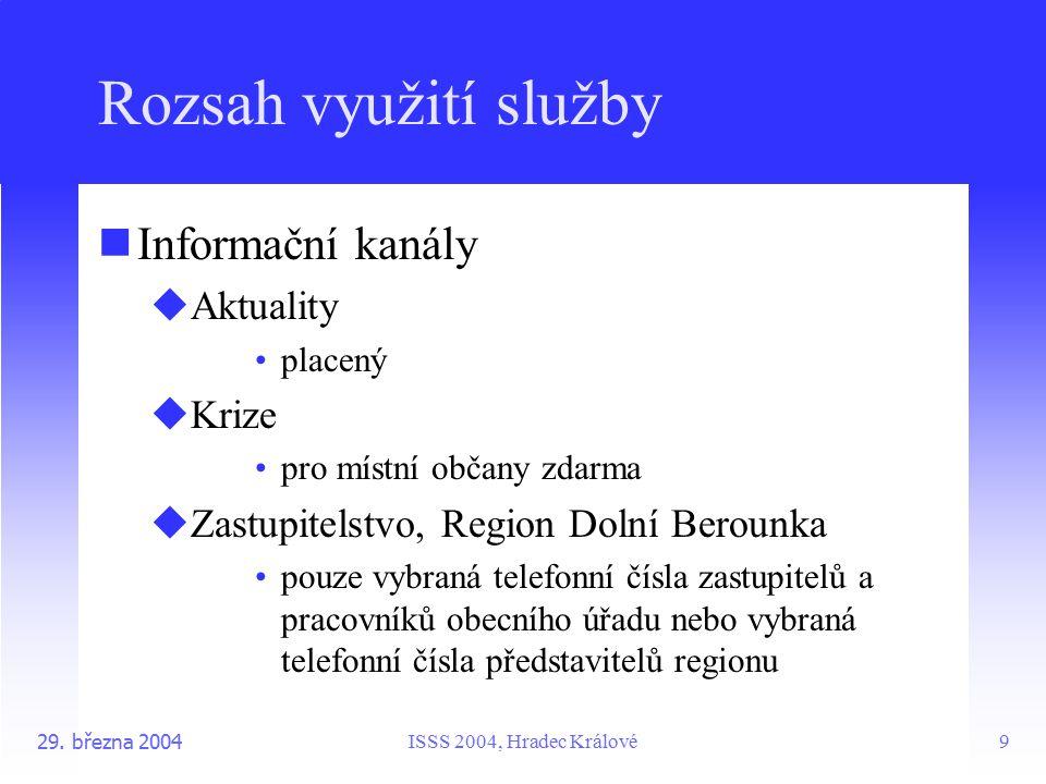 ISSS 2004, Hradec Králové29. března 20049 Rozsah využití služby Informační kanály  Aktuality placený  Krize pro místní občany zdarma  Zastupitelstv