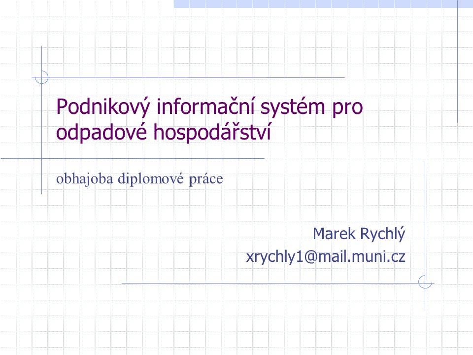 Podnikový informační systém pro odpadové hospodářství Marek Rychlý xrychly1@mail.muni.cz obhajoba diplomové práce