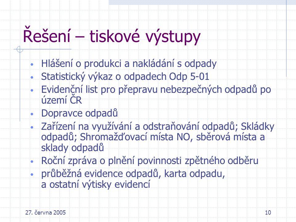 27. června 200510 Řešení – tiskové výstupy Hlášení o produkci a nakládání s odpady Statistický výkaz o odpadech Odp 5-01 Evidenční list pro přepravu n