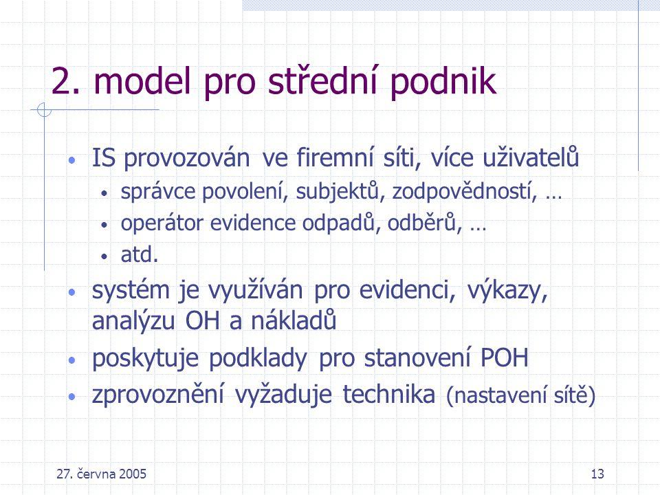 27. června 200513 2. model pro střední podnik IS provozován ve firemní síti, více uživatelů správce povolení, subjektů, zodpovědností, … operátor evid