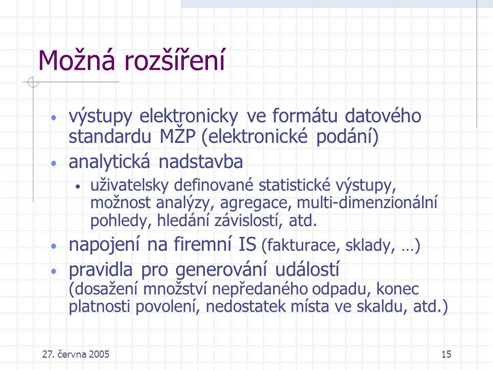 27. června 200515 Možná rozšíření výstupy elektronicky ve formátu datového standardu MŽP (elektronické podání) analytická nadstavba uživatelsky defino