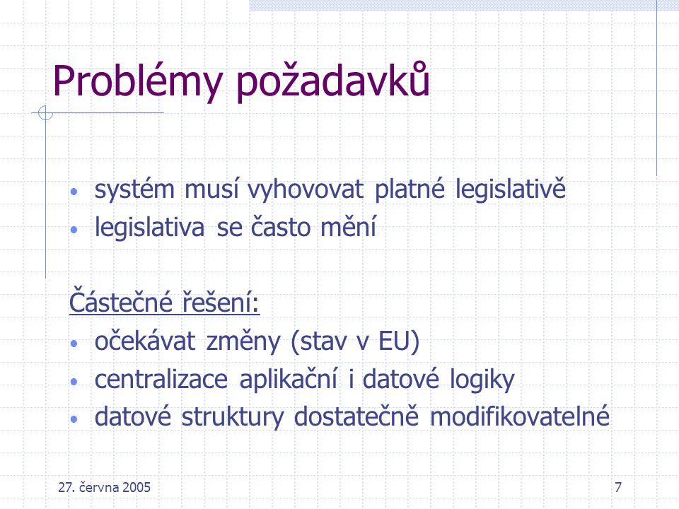 27. června 20057 Problémy požadavků systém musí vyhovovat platné legislativě legislativa se často mění Částečné řešení: očekávat změny (stav v EU) cen