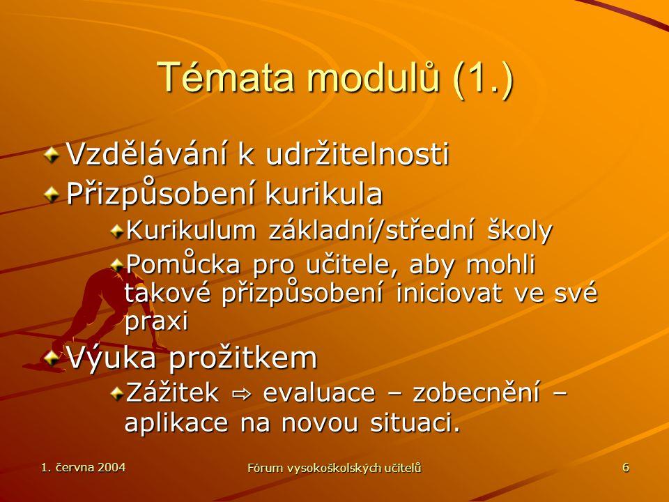 1. června 2004 Fórum vysokoškolských učitelů 6 Témata modulů (1.) Vzdělávání k udržitelnosti Přizpůsobení kurikula Kurikulum základní/střední školy Po