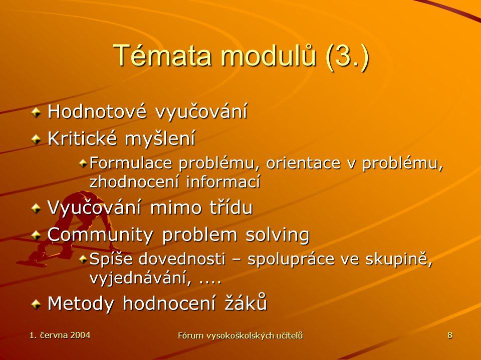 1. června 2004 Fórum vysokoškolských učitelů 8 Témata modulů (3.) Hodnotové vyučování Kritické myšlení Formulace problému, orientace v problému, zhodn