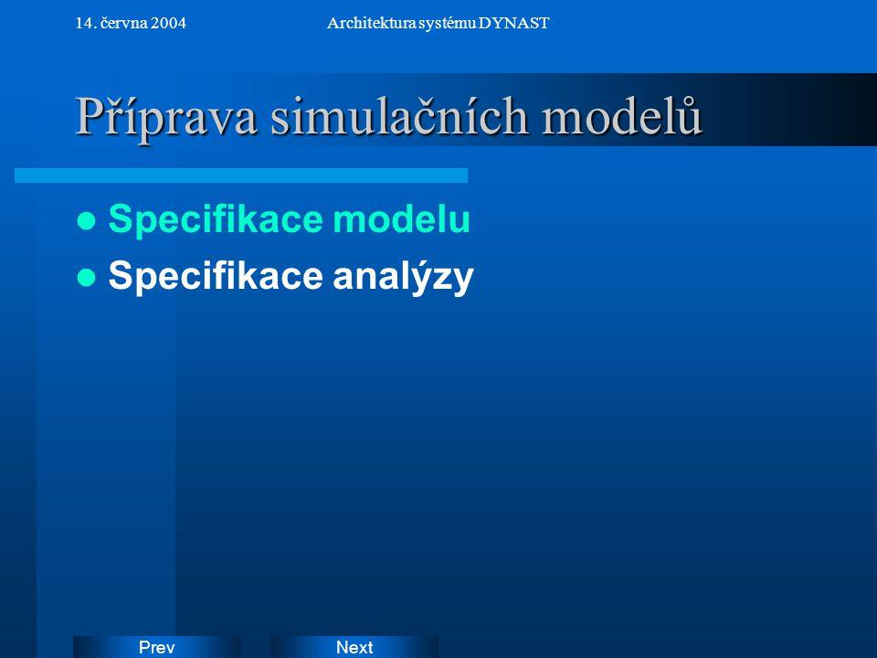 NextPrev 14. června 2004Architektura systému DYNAST Příprava simulačních modelů Specifikace modelu Specifikace analýzy