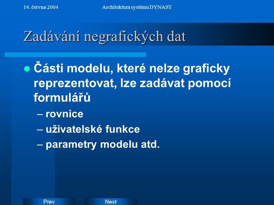 NextPrev 14. června 2004Architektura systému DYNAST Zadávání negrafických dat Části modelu, které nelze graficky reprezentovat, lze zadávat pomocí for