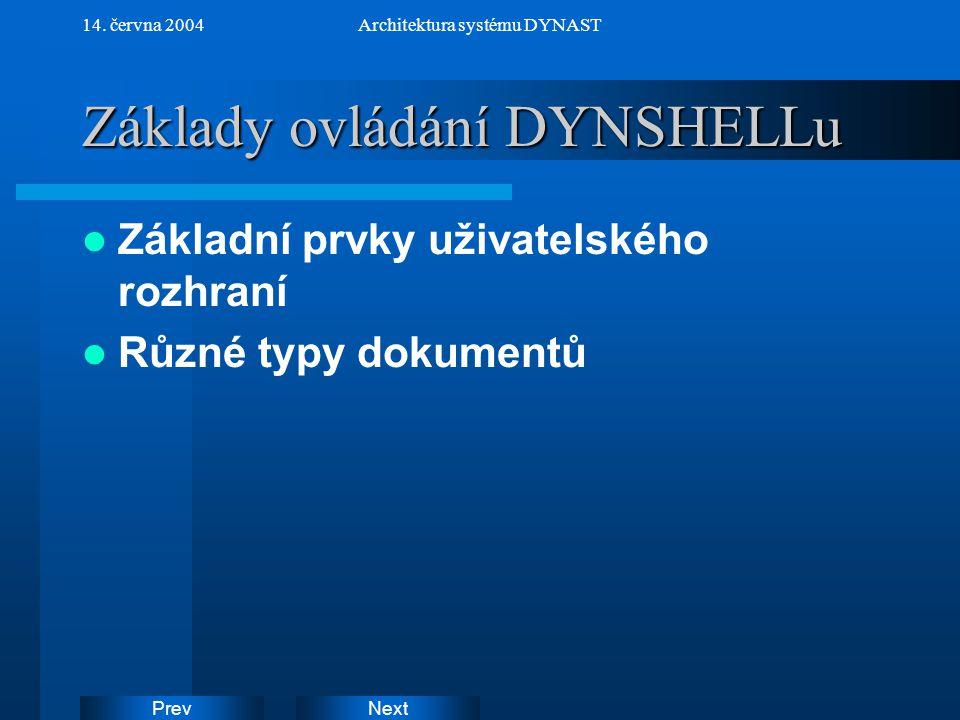 NextPrev 14. června 2004Architektura systému DYNAST Základy ovládání DYNSHELLu Základní prvky uživatelského rozhraní Různé typy dokumentů