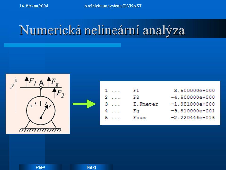 NextPrev 14. června 2004Architektura systému DYNAST Numerická nelineární analýza