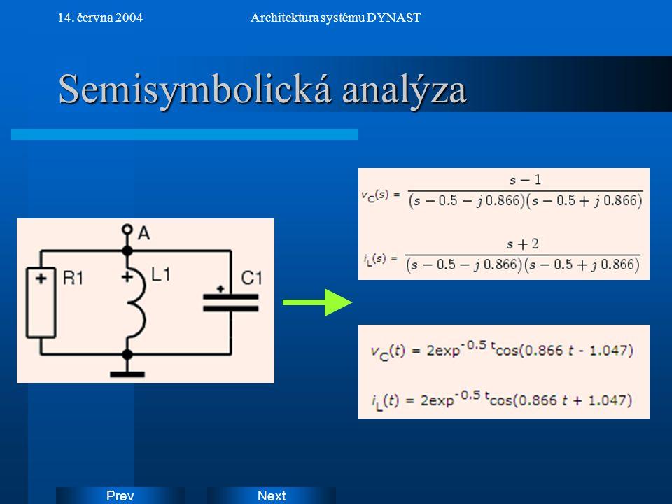 NextPrev 14. června 2004Architektura systému DYNAST Semisymbolická analýza