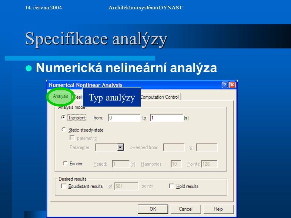 NextPrev 14. června 2004Architektura systému DYNAST Specifikace analýzy Numerická nelineární analýza Typ analýzy