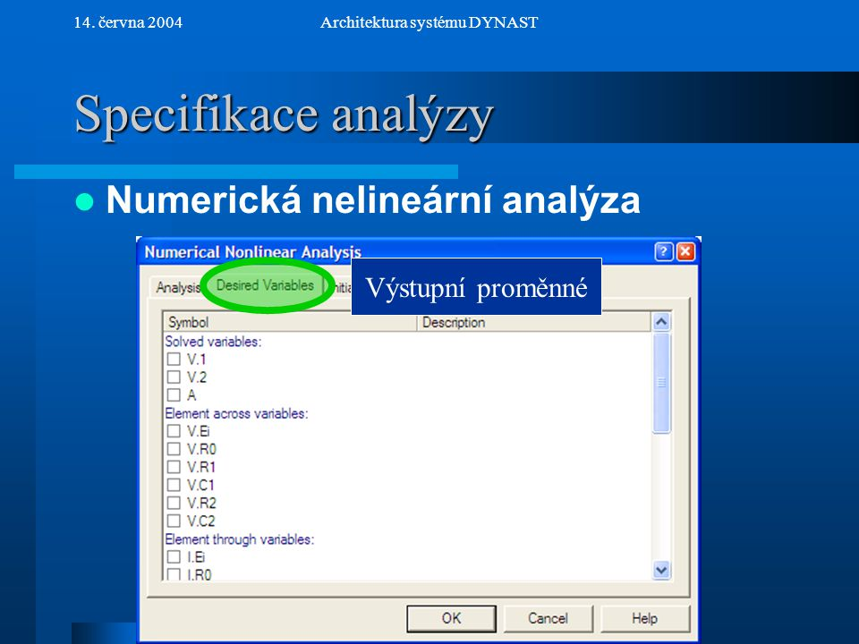 NextPrev 14. června 2004Architektura systému DYNAST Specifikace analýzy Numerická nelineární analýza Výstupní proměnné