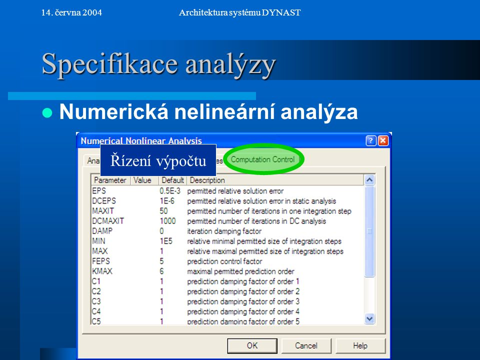 NextPrev 14. června 2004Architektura systému DYNAST Specifikace analýzy Numerická nelineární analýza Řízení výpočtu