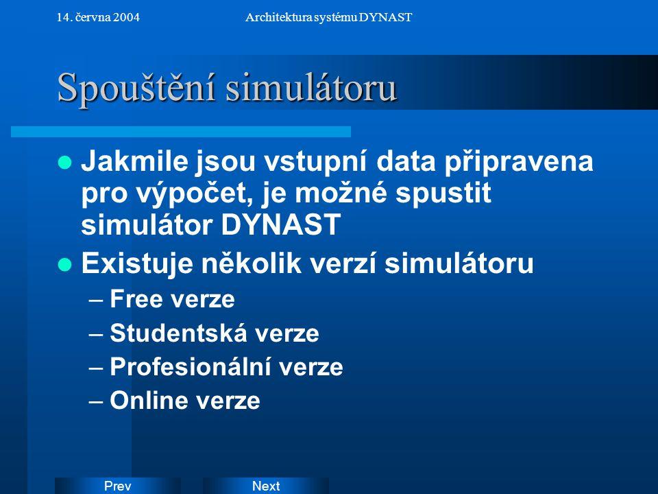 NextPrev 14. června 2004Architektura systému DYNAST Spouštění simulátoru Jakmile jsou vstupní data připravena pro výpočet, je možné spustit simulátor