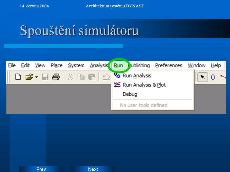 NextPrev 14. června 2004Architektura systému DYNAST Spouštění simulátoru